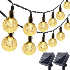 Amazon Solar Outdoor String Lights Lyhope Solar Outdoor String Lights 20 Ft 30 Led Crystal Ball Waterproof Solar Powered Globe Christmas Lights For Garden Patio Holiday Party