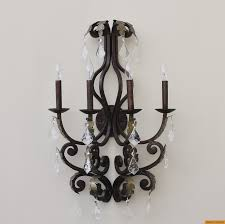 5211 4 tuscan wrought iron crystal wall lamp