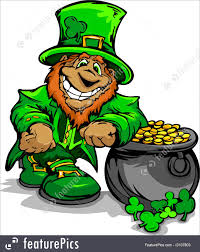 illustration of smiling st  patrick s day leprechaun with pot of goldhappy cartoon leprechaun on st patrick s day holiday leaning of a pot of gold vector illustration