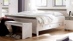 Bett Oslo Doppelbett Aus Kiefer Massiv Weiß Lava 200x200 Cm