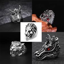 <b>Fashion Personality</b> Punk Tiger Ring Unisex Silver Lion Head ...