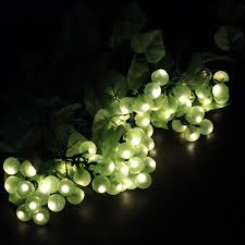 Green Solar Lights Us 29 74 15 Off Hanmiao 8 Bunches 80 Led Solar Light String Outdoor Green Purple Grape With Vine Waterproof String Lights Garden Decoration 48 In