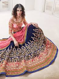crystal silk navy blue and pink reception wear lehenga choli Wedding Lehenga 2016 wedding lehenga choli, ethnic wear also latest suit a form of lehenga which is long, embroidered and pleated it is worn as the bottom portion of a lehenga wedding lehengas 2016