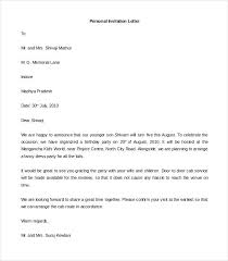 Sample Personal Invitation Letter Template Ms Word Format
