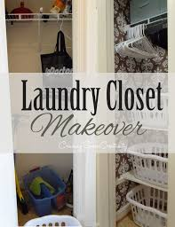 laundry closet makeover turning a broom closet into a functional space to stack laundry in