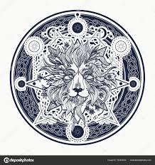 Středověké Lev Tetování A Tričko Design Okrasné Tetování Lev