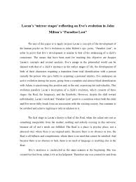 paradise lost essay questions lacan s ldquo mirror stages  lacan s ldquo mirror stages reflecting on eve s evolution in john lacan s ldquomirror stages milton s invocation in paradise lost letterpile