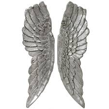 hill antique wash silver large angel wings 17992