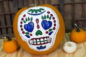 diy painted sugar skull pumpkin with free template