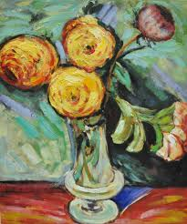 handpainted still life flower oil painting