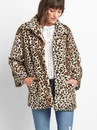 gap womens leopard faux fur coat leopard print