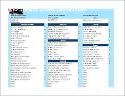 Vehicle Maintenance Checklist Template Download Car Schedule ...