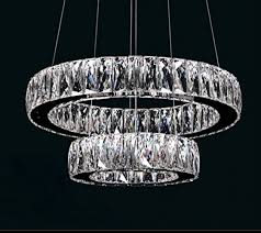 dearlan modern big crystal 2 ring chandeliers d19 7 11 8 ceiling lighting fixture chandelier lighting for living room hotel hallway foyer entry bed room