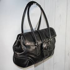 Coach Black Smooth Leather Buckle Flap Satchel