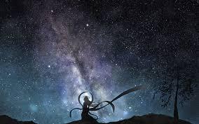 anime stars sky beauty alone wallpaper