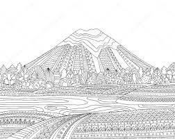 Afdrukbare Kleurplaat Voor Volwassenen Met Berglandschap Lake
