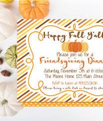 Friendsgiving Dinner Printable Invitation Thanksgiving Fall