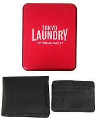 louisville black faux leather card holder and wallet set in metal gift box tokyo laundry tokyo laundry