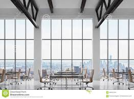 bright office. Modern Workplaces In A Bright Clean Interior Of Loft Style Office. Huge Windows With New York Panoramic View. Black Desks Office