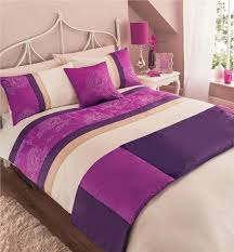 pink purple king size duvet set quilted bed runner cushon cover bedding set