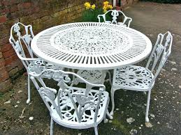 painting cast aluminum patio furniture awesome vintage shabby chic white iron garden set table wheels painting aluminum patio furniture