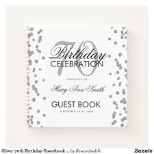 Birthday Guest Book Template Silver 70th Birthday Guestbook Confetti White Notebook
