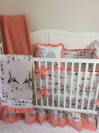baby girl crib bedding set peach c tan blue boho feather skull cribs personal favorite from