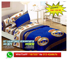 design baru set cadar single comforter real madrid bedsheet murah