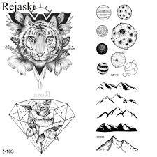 25 стилей черный эскиз 3d тигр тату наклейки для мужчин модные декорации для тела