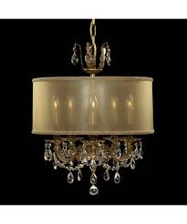 chic and creative crystal chandelier with drum shade american brass ch6502 llydia 16 inch wide 5 light mini shown in french gold glossy finish clear