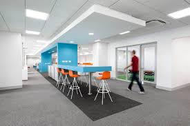 open floor office. Open Plan Office Area With Blue Snake Feature And Orange High Stools Forming Informal Meeting Floor S