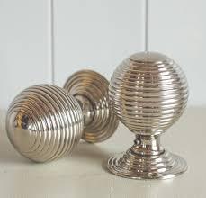door knobs. Beehive Large Door Knobs (Pair) - Nickel L