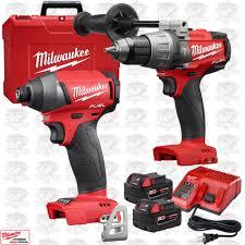 brushless drill. milwaukee 2897-22 gen 2 fuel 18v brushless hammer drill impact kit xc5.0\u0027s l