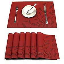 table mats. hebe placemats set of 6 heat-resistant pvc placemat for dining table woven vinyl stain mats n