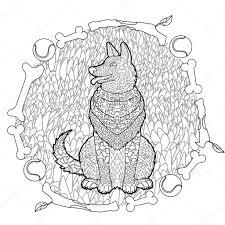 Hoge Detail Patroon Duitse Herder Stockvector Lezhepyoka 120680794