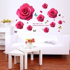 flower wall stickers for bedrooms romantic red flower wall sticker rose erflies wall decals for home