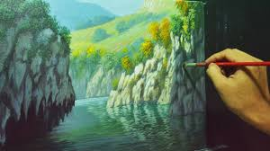 acrylic landscape painting lesson rocky cliffs and river by jmlisondra you