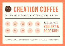 loyalty card template orange brown coffee shop loyalty card templates by canva