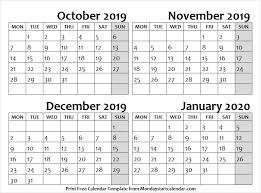 Cute October November December 2019 And January 2020 Calendar
