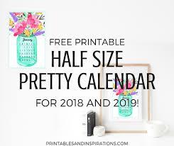 free printable 2019 monthly calendar free printable half size calendar 2018 and 2019 printables and