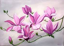 Items similar to Large Flower Painting Acrylic Silver Grey Pink Flowers  Magnolia Blooms Stretched Canvas on Etsy
