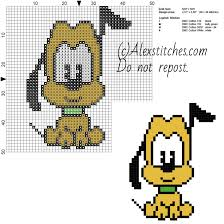 Free Disney Cross Stitch Charts Pluto Disney Cuties Free Cross Stitch Pattern 50x50 4 Colors