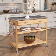 Home Styles Natural Designer Utility Cart Home Styles Natural Designer Utility Cart With Stainless