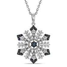 t w enhanced blue diamond snowflake pendant in sterling silver