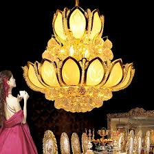 gold modern crystal chandeliers lighting fixture american k9 crystal chandelier led lotus flower lamps home indoor lighting 3 year warranty rustic