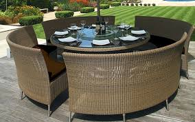 round outdoor dining table set with chic chairs room patio plain ideas inspirations 14