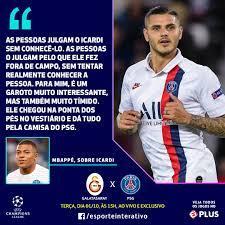 Kylian Mbappé saiu em defesa de Mauro Icardi, que foi criticado quando  deixou a Inter de Milão e se transferiu para o... | Esporte Interativo