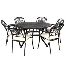 6 seat metal garden round set with brompton chairs