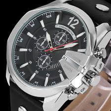 mens oversized watch curren men oversized gold stainless case leather analog quartz sport wrist watch
