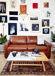 eclectic living room furniture. eclectic living room with a large gallery wall leather sofa marble coffee furniture s